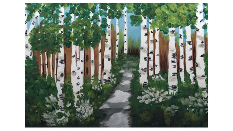 Birch Trees by Sharon A came to HomeFront to rebuild her life after suffering four aneurysms which had left her anxious and unsure about her future. (Image courtesy of Artspace)