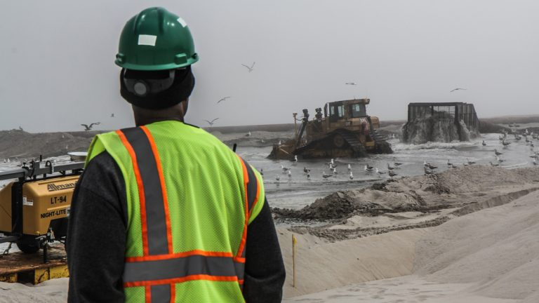 Beach replenishment efforts from May 2015 are shown in the borough of Ship Bottom in Ocean County. (Kimberly Paynter/WHYY, file)