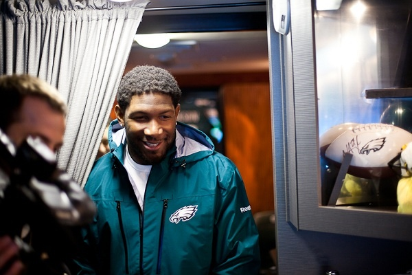 <p><p>Philadelphia Eagles linebacker Akeem Jordan tours the Eagles Eye Mobile which pulled up to the Wister School in Germantown on Tuesday morning. (Brad Larrison/for NewsWorks)</p></p>