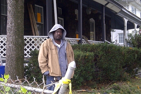 <p><p>Ben Folk has returned to his family's home on the 500 block of Independence St. every day since a fire gutted it during Sandy's arrival in East Oak Lane. (Brian Hickey/WHYY)</p></p>