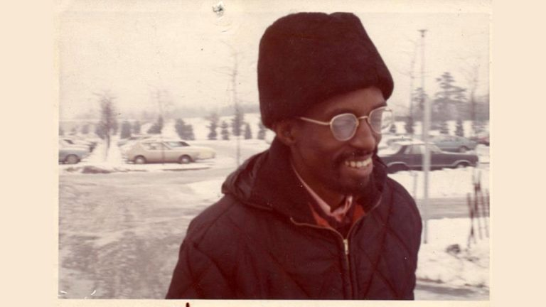 Julius Eastman in the parking lot of Baird Hall, Buffalo c. 1970.  (Photographer unknown)