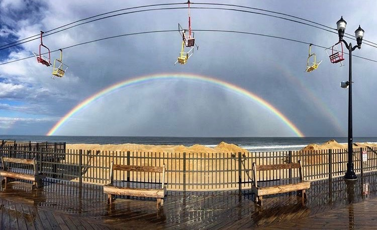 Was Sunday afternoon's double rainbow perhaps a sign of tranquil weather ahead? (Photo: @jederprais in Seaside Heights as tagged #JSHN on Instagram