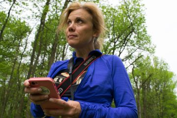 Holly Merker enters her bird count into the app, eBird. (Paige Pfleger/WHYY)