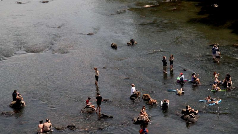 People gather in the Congaree river in Columbia, South Carolina, during the 2017 total solar eclipse. (Kimberly Paynter/WHYY)