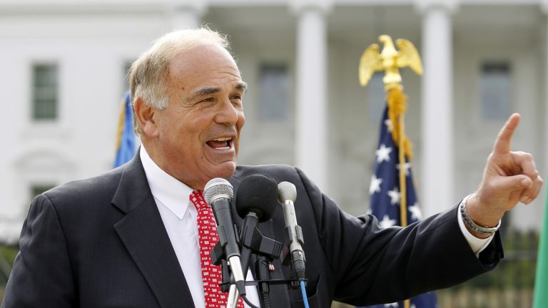Former Pa. Gov. Ed Rendell is shown speaking to a crowd gathered in front of the White House in October 2011. (AP Photo/Jose Luis Magana, file)