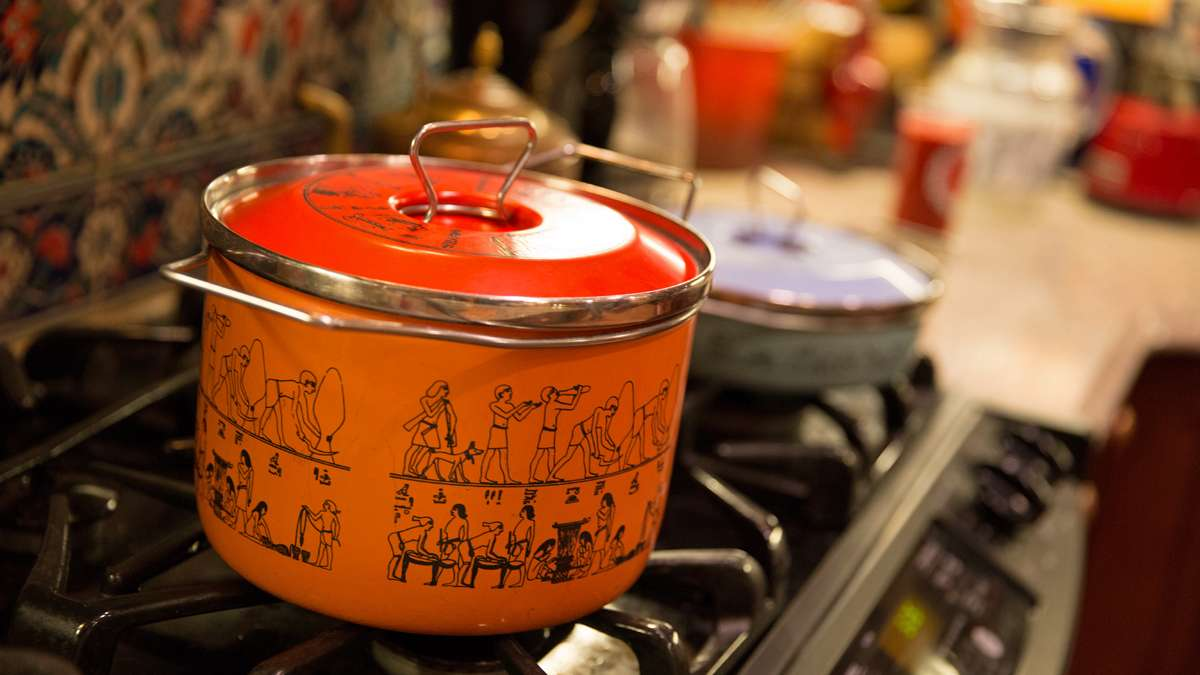 The kitchen includes Egyptian themed pots, pans and glassware (Lindsay Lazarski/WHYY)
