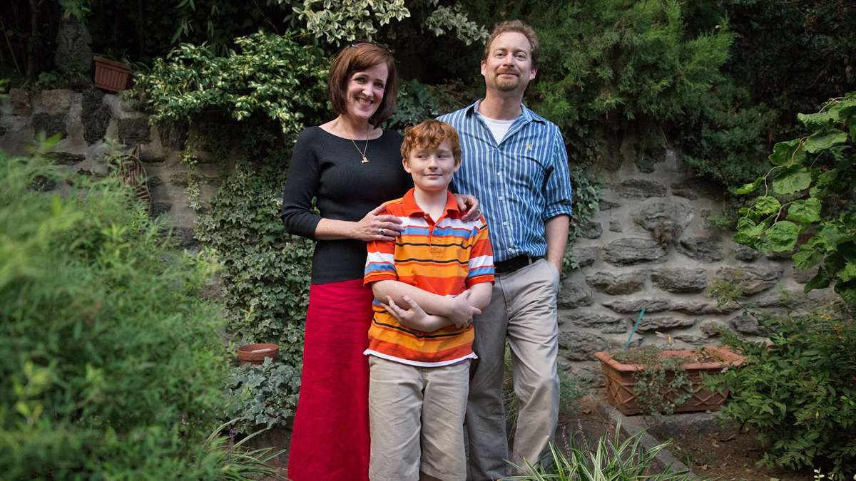 Jennifer and Josef Wegner with their son, Alexander, 10.  Jennifer admits that she is often the instigator of the Egyptian kitsch collection in the family.  (Lindsay Lazarski/WHYY)