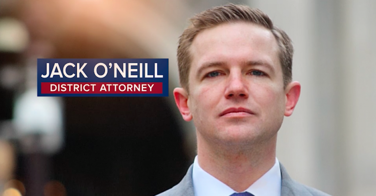 The only TV ad for DA candidate Jack O'Neill is run by a labor-funded Super PAC (NewsWorks screengrab)
