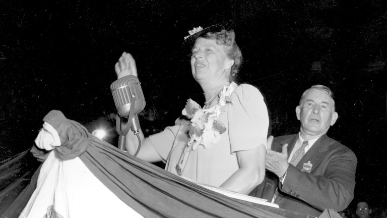U.S. First Lady Eleanor Roosevelt waves as she acknowledges a standing ovation after she addressed the Democratic National Convention at Chicago, Ill., July 18, 1940. (AP Photo, file)