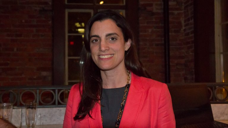 Democrat Rebecca Rynhart clinched the nomination for Philadelphia Controller in Tuesday's Pennsylvania primary (Kimberly Paynter/WHYY)