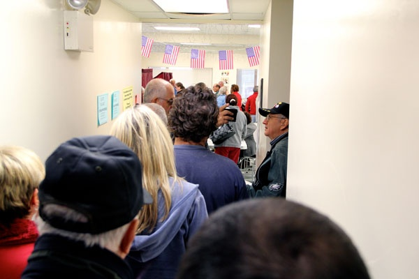 <p>Long lines develop at the Ventnor Community Building, which usually serves two voting districts. The facility had to accomodate two extra districts displaced because of Hurricane Sandy. (Emma Lee/for NewsWorks)</p>