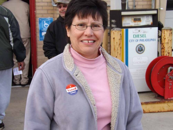 <p><p>State Rep. Pamela DeLissio arrived at the Ridge Avenue fire station in Roxborough to vote at 7 a.m. (Meg Frankowski/for NewsWorks)</p></p>