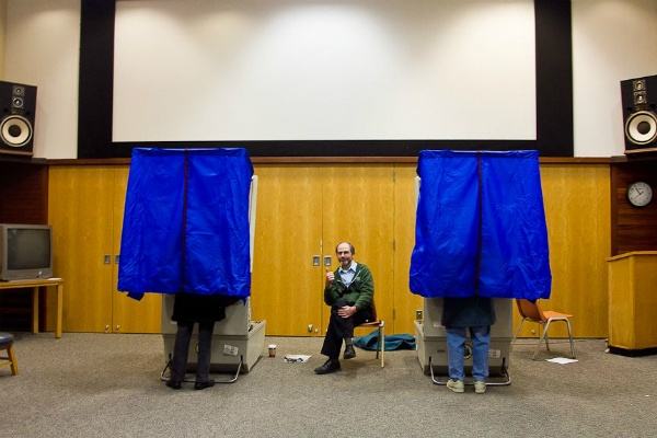 "<p><p><span style=""font-size: 12pt; line-height: 115%; font-family: 'Helvetica','sans-serif';"">Brian Rudnick keeps watch over the polls at the Chestnut Hill library Tuesday afternoon. (Brad Larrison/ for NewsWorks)</span></p></p>"