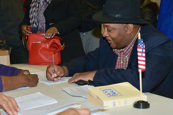 <p>State Rep. Dwight Evans votes at the Finley Recreation Center in Philadelphia on Tuesday, November 6, 2012.  (Bas Slabbers/for NewsWorks)</p>