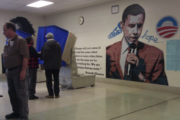 <p><p>A mural of President Barack Obama is seen behind voting booths at Ben Franklin Elementary School in the Lawncrest neighborhood of Philadelphia on Tuesday, November 6, 2012. A judge has ordered election officials to cover the mural.  (Photo courtesy of the Republican State Committee)</p></p>