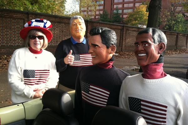 "<p><p>Betty and Phil McGarrigan of Audobon, N.J. are driving around the region with ""political dummies"" to encourage voter turnout. (Benjamin Herold/WHYY)</p></p>"