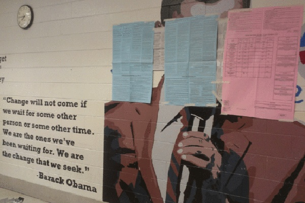 <p><p>A judge ordered election officials to cover a mural of President Barack Obama at Ben Franklin Elementary School in the Lawncrest neighborhood of Philadelphia on Tuesday, November 6, 2012.  (Photo courtesy of NBC 10)</p></p>