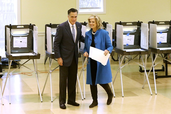 <p>Republican presidential candidate, former Massachusetts Gov. Mitt Romney and wife Ann Romney vote in Belmont, Mass., Tuesday, Nov. 6, 2012. (AP Photo/Charles Dharapak)</p>