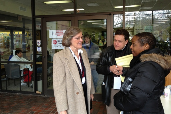 <p>Pennsylvania Commonwealth Secretary Carol Aichele visits a polling location at the Norristown Library.  (Jeanette Woods/WHYY)</p>