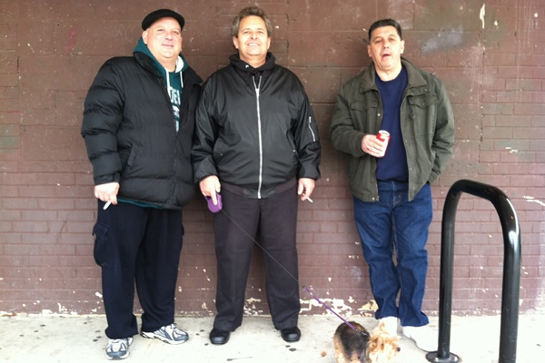 "<p>Joseph Accardo of South Philadelphia (far right) said he voted for the candidates that would best protect his economic interests: Democratic Presidential candidate Barack Obama and Republican Senate candidate Tom Smith. ?""I think Romney is for the rich,"" said Accardo.  (Benjamin Herold/WHYY)</p>"
