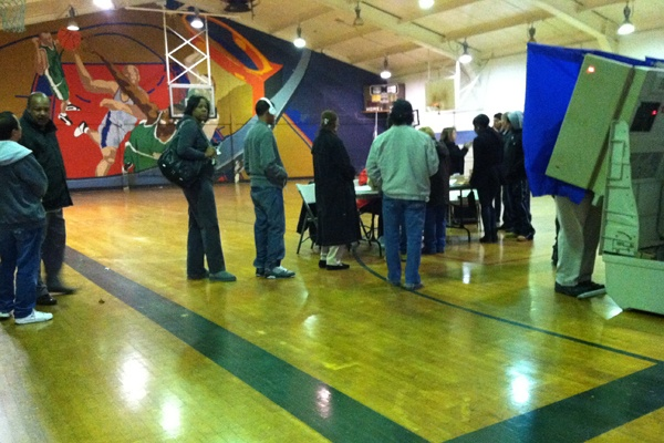 <p>Voters wait in line at Guerin Recreation Center at 16th and Jackson Streets in South Philadelphia.  (Benjamin Herold/WHYY)</p>