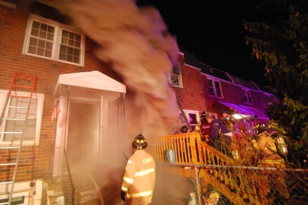 <p><p>The blaze broke out in the basement of the row home. (John Jankowski/for Newsworks) </p></p>
