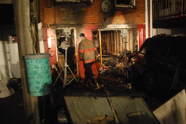 <p><p>The blaze on Sycamore Ave. broke out around 9:30 p.m. (John Jankowski/for Newsworks) </p></p>