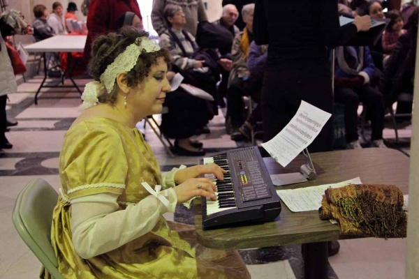 <p>&lt;p&gt;Jane Jennings, who portrays Mrs. Bennet in the Old Academy Players' performance of &quot;Pride and Prejudice,&quot; doubles as a musician for the dance scene. (Emma Lee/for NewsWorks)&lt;/p&gt;</p>