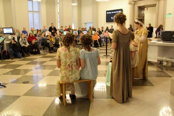 "<p><p>The Old Academy Players from East Falls put on a pop-up performance of scenes from ""Pride and Prejudice"" in Philbrick Hall to celebrate the 200th anniversary of the publication. (Emma Lee/for NewsWorks)</p></p>"