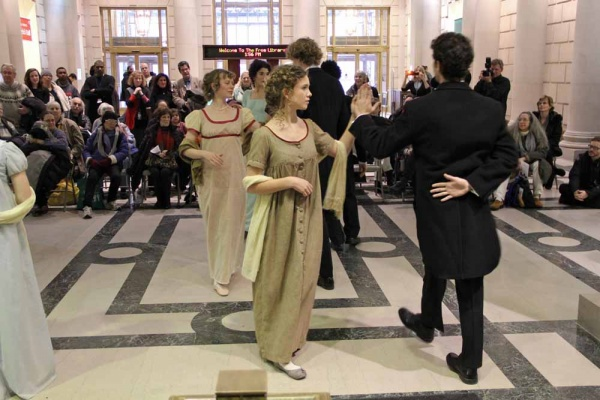 "<p><p>The Old Academy Players of East Falls stage a dance scene in the lobby of the central branch of the Philadelphia Library to celebrate the 200th anniversary of the publication of ""Pride and Prejudice."" (Emma Lee/for NewsWorks)</p></p>"