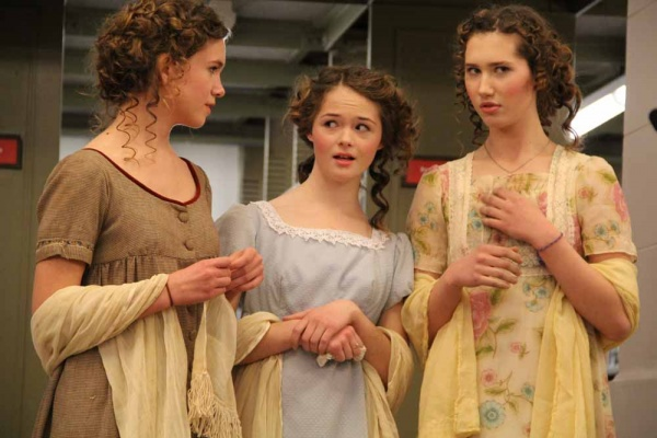 <p><p>The Bennet sisters: Mary, Kitty, and Lydia, (portrayed by (from left) Grace Kauffman-Rosengarten, Jessica Hobbs-Pifer, and Marion Standefer, comment on Mr. Darcy's atrocious behavior. (Emma Lee/for NewsWorks)</p></p>