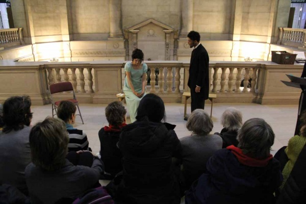 "<p><p>Julia Wise and Isaiah Price perform a stormy scene from ""Pride and Prejudice"" between Elizabeth and Mr. Darcy. (Emma Lee/for NewsWorks)</p></p>"