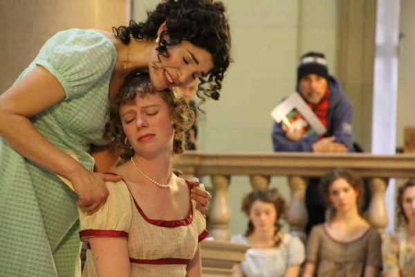 <p><p>Members of the Old Academy Players of East Falls perform scenes from Pride and Prejudice. Here Elizabeth (Julia Wise) comforts her sister Jane (Laura J. Seeley) after the arrival of a letter bearing bad tidings. (Emma Lee/for NewsWorks)</p></p>