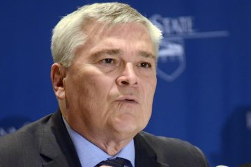 Penn State President Eric Barron is shown in 2014. Penn State's board of trustees approved changes to the university's Greek system Friday, June 2, 2017, including taking control of previously self-governing fraternities and sororities, following the Feb. 4, 2017, death of 19-year-old pledge Timothy Piazza, of Lebanon, N.J. Barron says Penn State will lobby for tougher laws on hazing, something sought by Piazza's parents, and host a national conference on Greek Life with other universities. (AP Photo/Ralph Wilson, File)