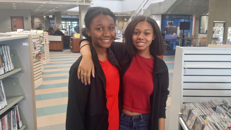 Whitney Henderson (right) with Dominique Booker are both Strong Vincent High School students in Erie, Pa. (Kevin McCorry/WHYY)