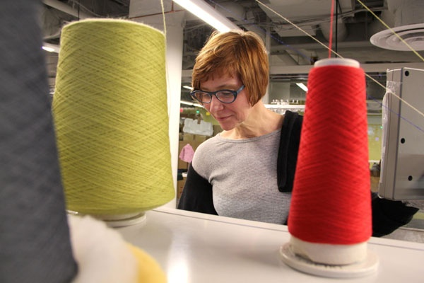 <p><p>Geneviève Dion, director of the Shima Seiki Haute Technology Lab at Drexel's ExCITe Center, programs one of four knitting machines valued at $1.2 million. (Emma Lee/for NewsWorks)</p></p>