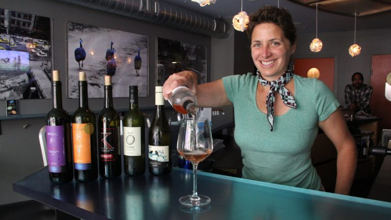 Jill Weber, owner of Jet Wine Bar on South Street, offers an array of exotic wines, imported from  Hungary, Greece and Macedonia as well as Italy and France. (Emma Lee/for NewsWorks)