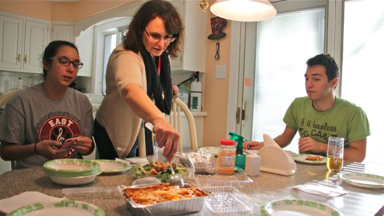 Bioengineer Nancy Pleshko ordered takeout from an Italian restaurant on her way from her lab at Temple University to her home in Cherry Hill, New Jersey. This is what she and her two teenage children at home have for dinner around once a week, to save time. (Emma Lee/WHYY)