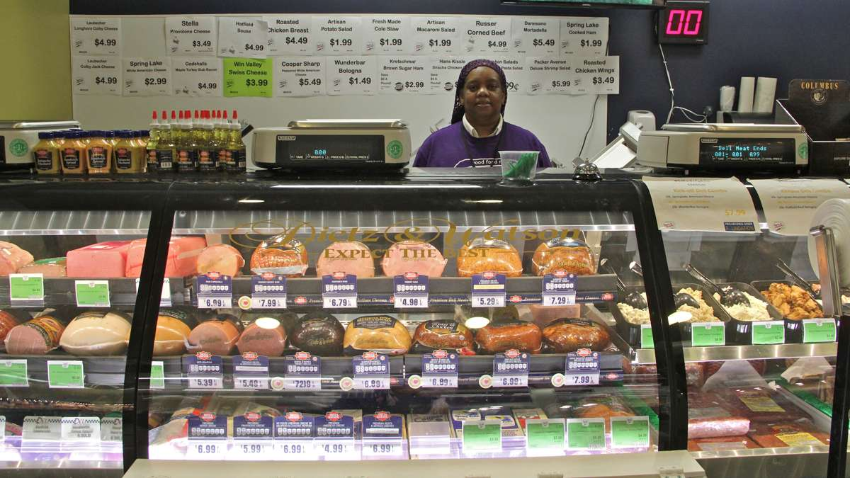 Deli Manager Chea Gamble grew up in Chester and was hired after she returned to care for a relative. Fare and Square's policy is to hire locally and promote from within. (Emma Lee/WHYY)