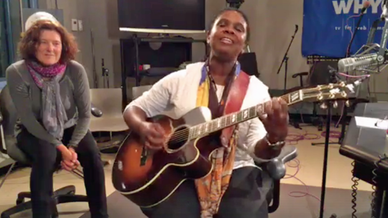 Blues artist Ruthie Foster playing live at WHYY as Radio Times host Marty Moss-Coane listens in (Facebook Live)