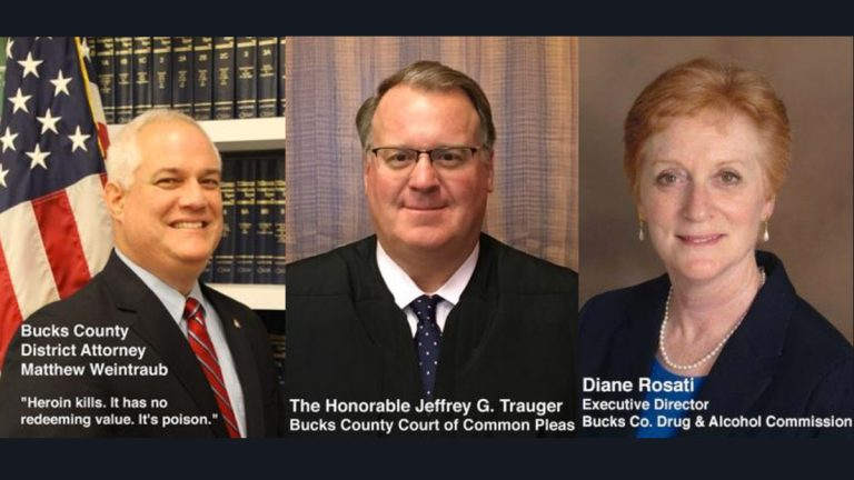 The featured speakers at a drug epidemic town hall in Bucks County are (from left) District Attorney Matthew Weintraub, Court of Common Pleas Judege Jeffrey Trauger and Diane Rosati, executive director of the Bucks County Drug and Alcohol Commission. (TruthSpeaks.net)
