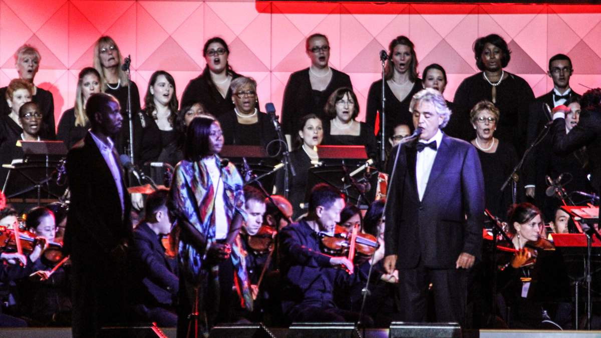 Festival of Families: Andrea Bocelli sings during the Festival of Families in Philadelphia (Kimberly Paynter/WHYY)