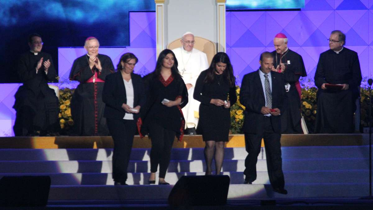 Festival of Families: Pope Francis meets with one of the families who gave testimony during the Festival of Families in Philadelphia (KImberly Paynter/WHYY)