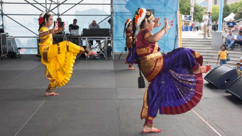 Dancers perform on stage during the Festival of India at Penn's Landing Saturday, Aug. 12, 2017. (Emily Cohen for NewsWorks)