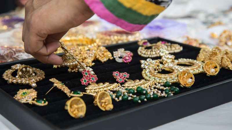 Jewelry is displayed for sale at the Festival of India at Penn's Landing. (Emma Lee/WHYY)