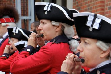 Fife players perform at the grand opening of the Museum of the American Revolution in April. (Emma Lee/WHYY, file)