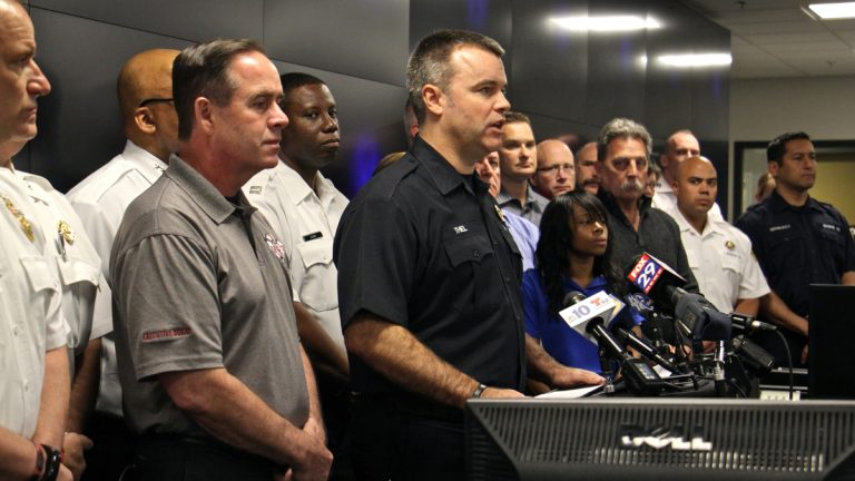 Philadelphia Fire Commissioner Adam Thiel speaks about a federal report that blames firefighter errors and faulty gear for the death of Joyce Craig, the first female firefighter to die in the line of duty in Philadelphia. (Emma Lee/WHYY)