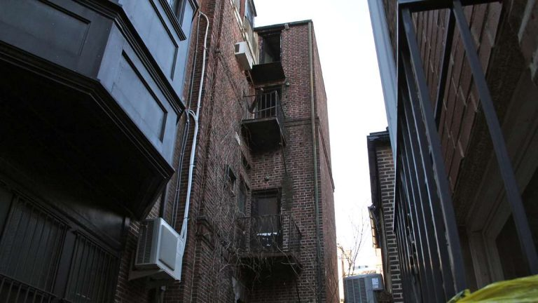 This 2014 file photo shows a fourth-floor fire escape landing in Rittenhouse which collapsed with three people standing on it, killing one. (Emma Lee/WHYY, file)