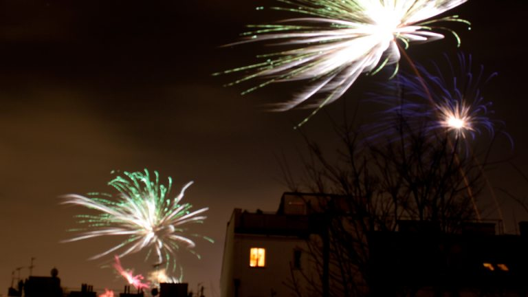 A backyard fireworks display. (<a href=
