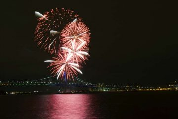 Fireworks are seen from Penn's Landing with the Benjamin Franklin Bridge in the background.